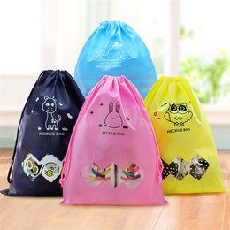 Wholesale Pocket Square Storage - New cute Drawstring Beam pockets cartoon storage bags Shopping Bags Fashion Storages Bag Gifts Bags wholesale IA013