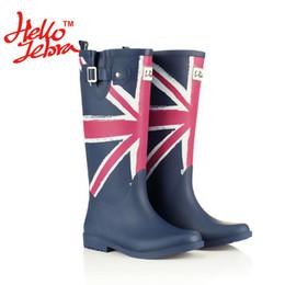Wholesale Tall Waterproof Boots Women - Women Fashion Rain Boots Printing Flag Classic Ladies Rubber MIid-Calf Heels Waterproof Buckle Rainboots 2016 New Fashion Design Tall Blue