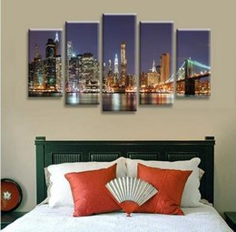 Wholesale Canvas Wall Art New York - 2017 without borders of the brooklyn bridge in New York City wall art oil painting canvas deformation of abstract painting pictures to decor