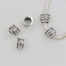 Wholesale Tube Beads Wholesale - Hot ! 100pcs Antique silver 5.5mm Hole zinc alloy Tube Bead Spacers Charm Fit Bracelet