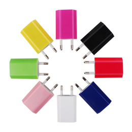 Wholesale Colorful Usb Wall - Best Price Colorful EU Version Plug USB Travel Charger Wall Chargers Adapters For iphone 4 5 6 6S 7 Smartphone