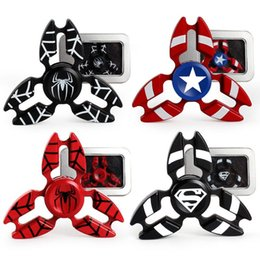 Wholesale Spiderman Man - Metal Avengers Fidget Spinner Super Hero Tri-Spiner Captain America Spiderman Bat Iron Man Zinc Alloy EDS Metal Spinners Toy