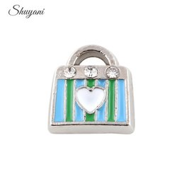 Wholesale Handbag Glasses - New Arrival Enamel Crystal Handbag Floating Charms for Glass Memory Locket Charms Bracelet 9*9mm Silver Plated