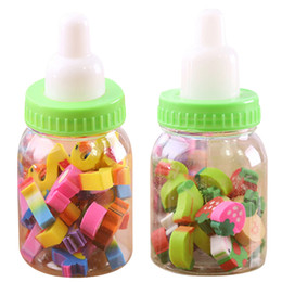 Wholesale Erasers Bottle - Wholesale- Education Drawing Toys Fruit Number Shape Erasers Stationery Kid Gift Toy Cute Pupils Supplies Student Erasers with Bottle