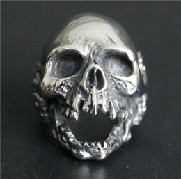 Wholesale Stainless Skull Rings - 1pc Size 7-15 New Design Men Boys Huge Skull Ring 316L Stainless Steel Popular Fashion Biker Ghost Skull Ring