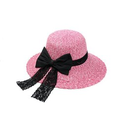 Wholesale Ladies Hats Big Bows - High quality New spring and summer big along the sunscreen hat lady shade beach cap bow can be folded hat M019 with box