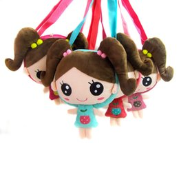 Wholesale Baby Doll Heads - Wholesale- Korean version cartoon pigtail doll head children Messenger shoulder bag baby girls party bags gift