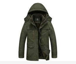 Wholesale Military Style Jacket Men Green - AFS JEEP Men Autumn Spring Hooded Coat Hat Detachable COTTON Men Jackets Long Sleeve Military Style Casual Outerwear Plus Size