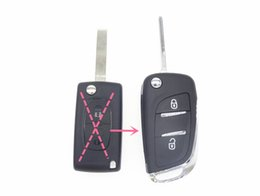 Wholesale Two Button Remote Car Shell - 2 Two Button Modified Filp Folding Remote Car Key Shell Case for Citroen C2 C3 C4 C5 C6 C8 Xsara Picasso CE0536 WITH HU83 Blade