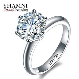 Wholesale Stamped Rings - YHAMNI Fashion White Gold Ring With Stamp 18KRGP Wedding Rings for Women Luxury 6mm CZ Zircon Engagement Ring R168