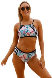 Wholesale Floral Tankini Top - CRYG Newest 2017 Bikini Set Palm Leaf Print Self-tie High Neck Swimsuit Women Tankini Top Swimwear Padded Beach Bathing Suit