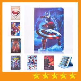 Wholesale Ipad Mini Spiderman Cases - Cartoon Superman Spiderman Batman PU Leather Case With Stand for ipad mini 4 mini123 ipad 234 Air 5 Air2 6
