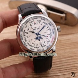 Wholesale automatic multifunction watches - Cheap Luxury Brand Complications World Time 5159 Moon Phase Automatic Multifunction White Dial Mens Watch Cheap New Watches With Gift Box