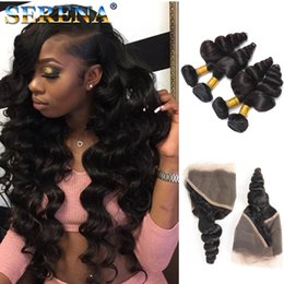 Wholesale mix deals - 8A Malaysian Loose Wave with Frontal Ear to Ear Closure With Bundles Baby Hair Human Hair Weave Lace Frontals and Bundle Deals