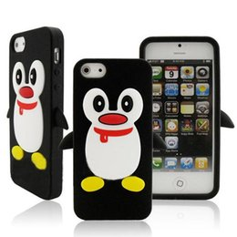 Wholesale Iphone Case Adorable - For iPhone 5 5G 5S SE Adorable Black Penguin Silicone Protective Case Cover