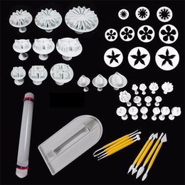 Wholesale Rolling Pin Cookies - 46 PCS SET 14 kinds Flower Cake decorating tools Fondant Cake Mold set With Cake Smoother Polisher rolling pin brush Cutter Mold Cookies