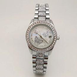 Wholesale Valentine Butterflies - Casual Ladies Luxury brand watch for women Quartz Diamond butterfly watches Stainless Steel band Wristwatches Valentine Gift Montre Femme