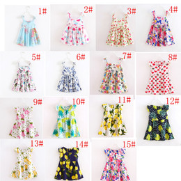Wholesale Girls Halter Tutu - INS Cherry lemon Cotton Backless girls floral beach dress cute baby summer backless halter dress kids vintage flower dress 12colors
