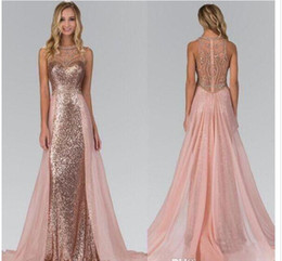 Wholesale Images Crystal Roses - 2018 Chic Rose Gold Sequined Bridesmaid Dresses With Overskirt Train Illusion Back Formal Maid Of Honor Party Evening Gowns prom