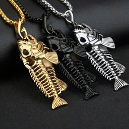 2019 collares pesados del motorista Pesados esqueletos Biker colgante de plata / oro / negro collar de acero inoxidable Nuevo con cadena Rolo gratis 4mm * 24