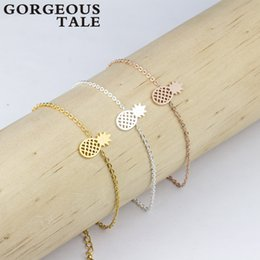 Wholesale Silver Pineapples - Wholesale- GORGEOUS TALE Trendy Stainless Steel Gold Silver Chain Charm Pineapple Bracelet Women Men's Rose Gold Bracelet New Arrival 2017
