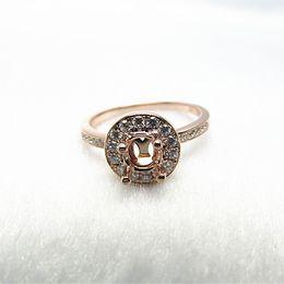 Wholesale Setting Semi Ring Mount - Round 5mm Solid 14K Rose Gold Natural Diamond Engagement Wedding Semi Mount Ring R387