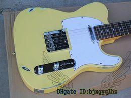 Wholesale Tele Custom - New Arrival Custom Shop Yellow Tel Guitar Vintage Tele White Electric Guitar Wholesale From China HOT Guitars