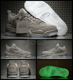 Wholesale Mens Glow Dark Shoes - 2017 Retro 4 IV x Kaws Glow In The Dark Cool Grey mens Basketball Shoes High Quality 4s Sports Sneakers