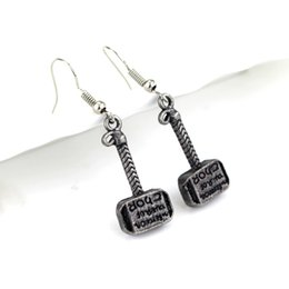 Wholesale Earring Accessories For Men - Movie Jewelry Thor Hammer Earrings For Women Man 2017 Fashion Creative Alloy Hammer Accessories Wholesale Free Shipping