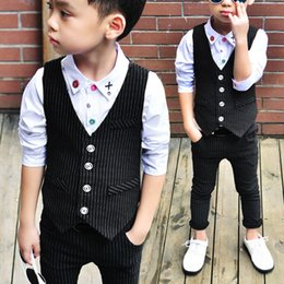 Wholesale Popular Boys Clothing - Popular Sale Kids Suits Comfy Cotton Outfits Baby Boy Newborn Clothing Striped Vest & Pants Weddings Formal Wear Black VJ0182