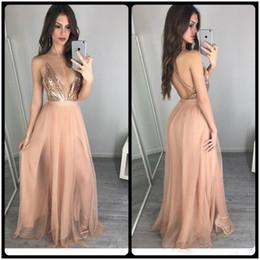 Wholesale Cross Back Skirt - Rose Gold Sequins Prom Dresses Sexy Deep V Neck Tulle Skirt Long Formal vestido de festa Cheap Back Cross Beach Evening Gowns