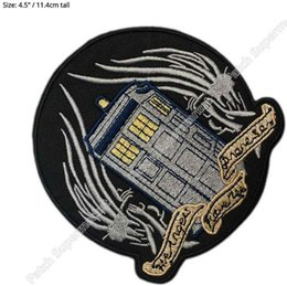 """Wholesale Boxing Tshirt - 4.5"""" The angels have the phone box DOCTOR WHO Movie TV Show Series Costume Embroidered iron on patch Tshirt TRANSFER APPLIQUE"""
