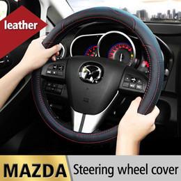 Wholesale Mazda Steering Wheel Covers - Leather Car Styling Steering Wheel Cover For Mazda 3 2 Mazda 6 Axela CX-5 CX5 CX-7 CX7 CX-9 RX8 2014 2015 2016 Auto Accessories