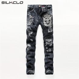 Wholesale Skulls Jean - Wholesale-European American Style men fashion jeans cotton luxury quality slim skulls brand Straight men hole jean black denim trousers