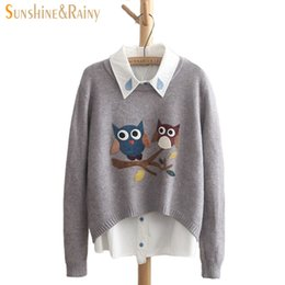 Wholesale Hand Knitted Wool Owl - Autumn Winter Women 2016 Long Sleeve Round Neck Owl Pattern Casual Pullover Slim Sweaters For Girls Pullovers 4 Colors Top