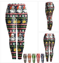 Wholesale Plus Size Winter Print Leggings - Elastic Sports Leggings women girl Christmas printed fitness running plus size high waist warm pants winter 2016 free shipping