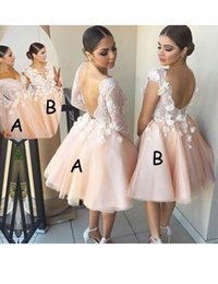 Wholesale Kinder Dresses - V Neck Two Kind Of Styles Long Sleeves Or Sleeveless Open Back Ball Gown Short Hand Made Flower Lace Bridesmaid Dress