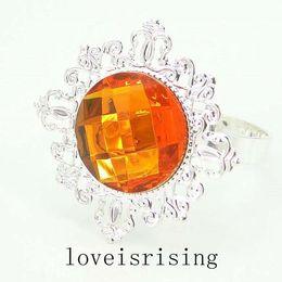 Wholesale Wedding Napkin Rings Orange - High Quality--50pcs lot Orange Gem Silver Plated Napkin Rings Wedding Favors Decoration Napkin Cloth Rings
