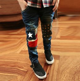 Wholesale Boys Elastic Waist Jeans - 2017 spring children's wear, children's jeans, cotton washed, boys and girls stretch length pants, 3-8 years old, size 110-150 yards