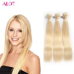 Wholesale Remy Hair 613 - Brazilian Vingir Hair Bundles Blonde Straight 1b 613 Brazilian Virgin Hair Unprocessed 3 Bundles Straight Human Hair Weave Bundles