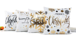 Wholesale Sofa Decorations - Bronzing happy merry Christmas Cushion Cover Gold Printed Pillow Cover Decorative Pillow Cases Sofa Pillowcase Soft gold decorations 45*45cm