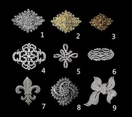 Wholesale Diamante Flower Pins - Wholesale- Rhodium Silver Gold Plated Clear Rhinestone Crystal Diamante Large Flower Vintage Bouquet Brooch Pins Fashion Accessories