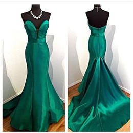 Wholesale Emerald Short Dresses - 2017 Elegant Noite Vestidos de Noiva Ladies Evening Dresses Emerald Green Mermaid Prom Gowns Sweetheart Neck Fast Shipping
