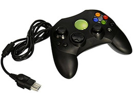 Wholesale Wholesale Video Games Accessories - 100pcs lot Black Wired Game Controller GamePad Joypad Joystick For Microsoft XBOX Video Accessories