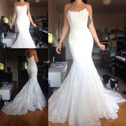 Wholesale Strapless Mermaid Wedding Dress Modern - modest mermaid wedding dresses lace strapless backless sweep train high quality country bridal gowns custom made from china Wedding dress