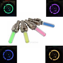 Wholesale Tire Leds - Wholesale- 4pcs bike light mountain road bike bicycle lights LEDS Tyre Tire Valve Caps Wheel spokes LED Light