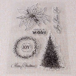 Wholesale Glass Christmas Ornaments Crafts - Wholesale- Silicone Tree Wreath Clear Stamp Sealing Christmas DIY Scrapbooking Design Ornament Tools Gadgets Transparent Crafts Favor