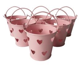 Wholesale Metal Favor Pail Candy - D6*H5CM Cheap Metal mini candy Pail Tin bucket Rustic Succlents Pots Decorative Galvanized Iron pots Party Favor