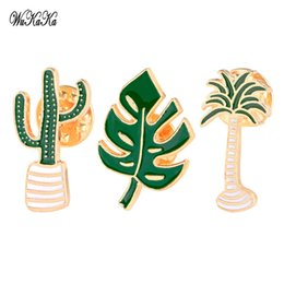 Wholesale Cactus Trees - Wholesale- 3pcs 1 set Cartoon Acrylic Brooch Set Badges Metal Pin Cactus Leaves Tree For Clothes Jeans Backpack hat Harajuku