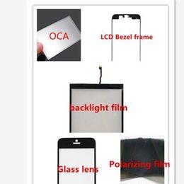 iphone bezel sticker Promotion Avant LCD Moyen Lunette Cadre + Verre Lentille + OCA Adhésif Autocollant film + Film Polarisant + Rétro-éclairage film ensemble complet pièces pour iphone 5 5s 5c 6 6 plus